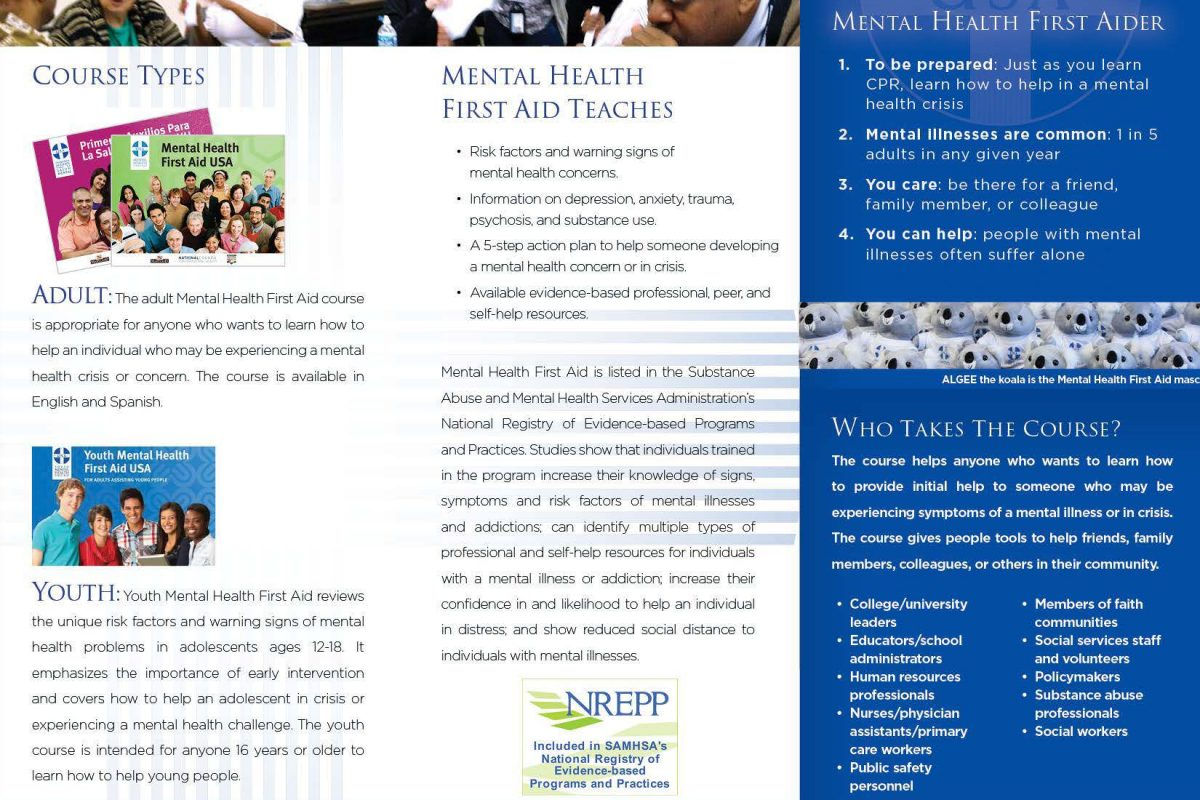 Our new brochure mental health association in essex for Two page brochure template