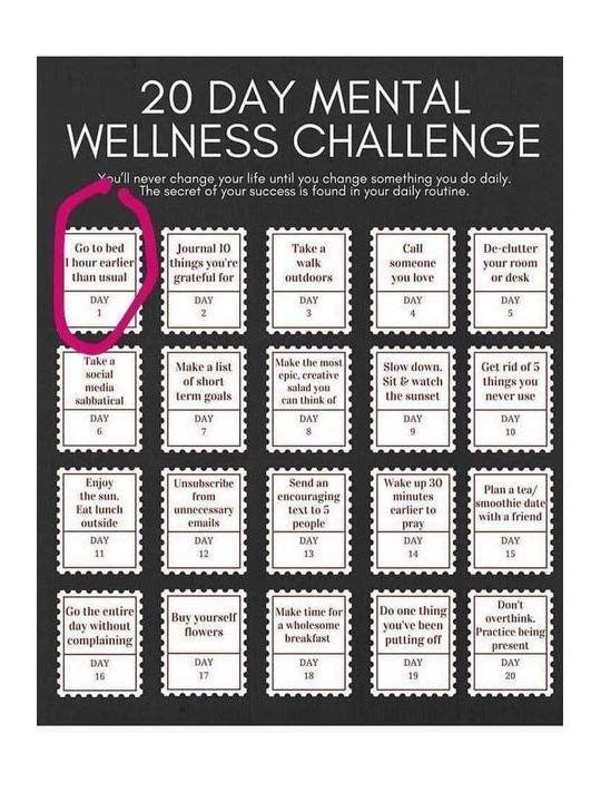20 day mental wellness challenge